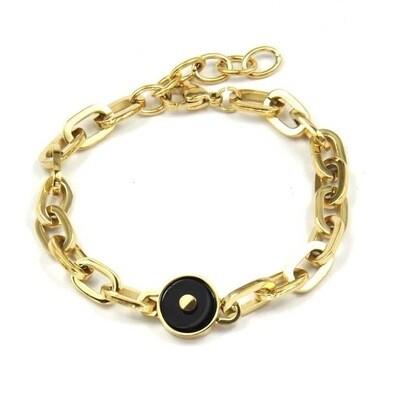 ZAG Armband Chunky Chains Onyx Stone | Goud