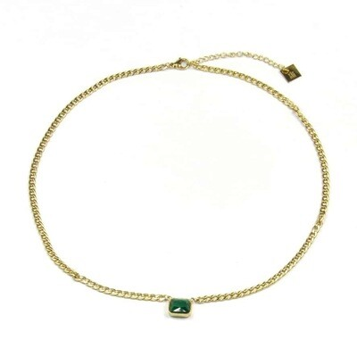 ZAG Ketting Golden Chains Malachite Stone | Goud