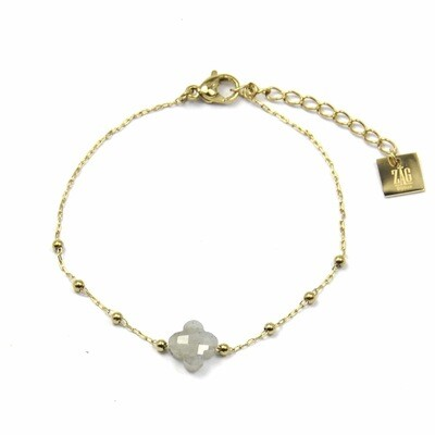 ZAG Armband Klavertjevier Light Grey | Goud