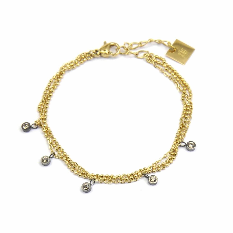 ZAG Armband Triple Zirconia Stones | Goud