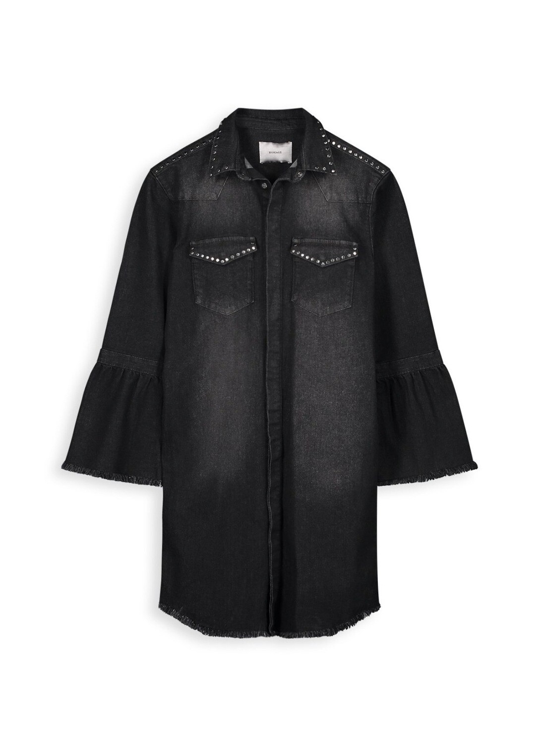 Homage Studded Denim Coat With Trumpet Sleeves | Cosmos Black