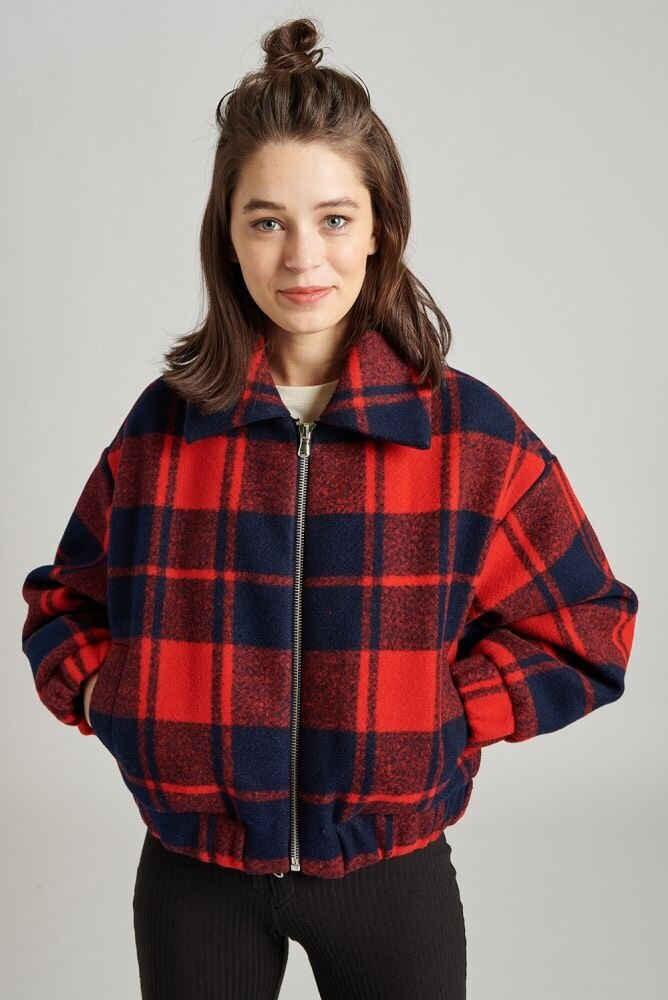 24 Colours Checkerd Jacket   Red