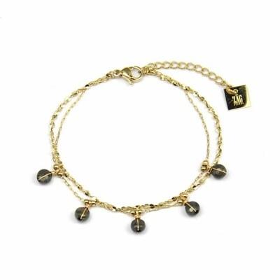 Zag Bijoux Dubbele Bracelet Pyrite Taupe Stones | Goud