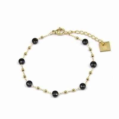 Zag Bijoux Bracelet Onyx Golden Chain Balls | Goud