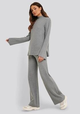 Rut & Circle Maja Knit Pant | Grey Melange