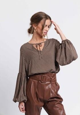 Rut & Circle Myra Blouse | Brown Check