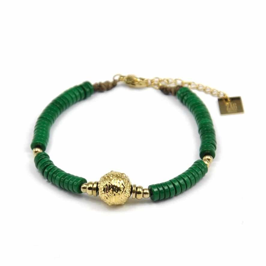 ZAG Bracelet Golden Ball Malachite Green Pastilles | Goud