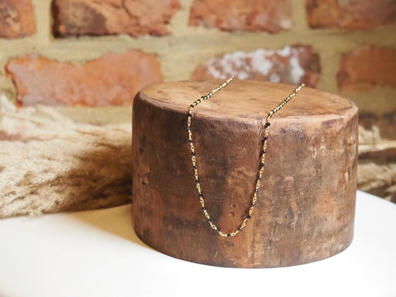 Zag Bijoux Chain  Black Bulbs   Gold