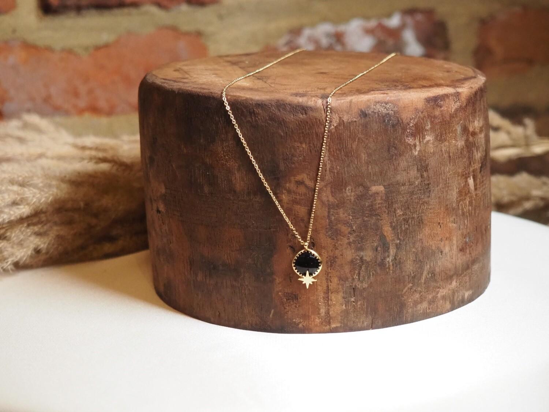 Zag Bijoux Chain Black Star   Gold
