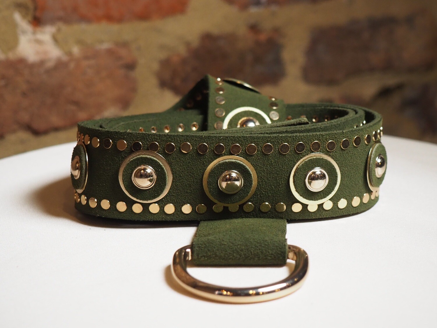 The Kaia Belt Dolly Suède Olive | Gold