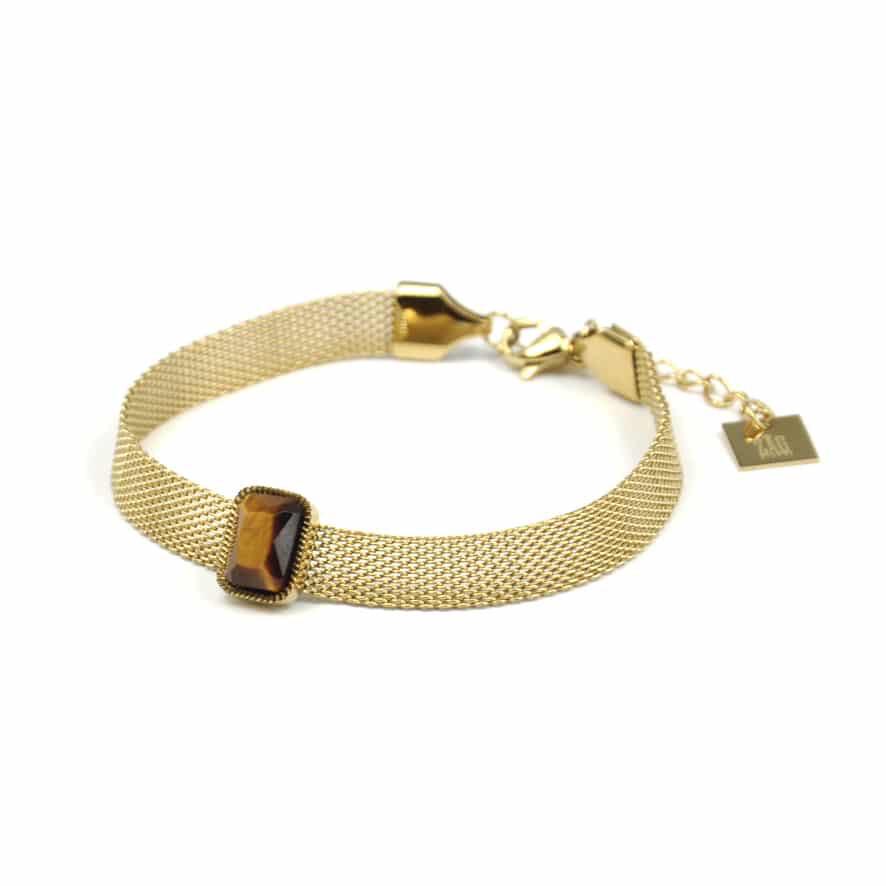 ZAG Bracelet Basic Tiger Eye Stone | Goud