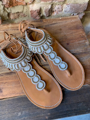 Mzury Swahili Slippers -White (outlet)