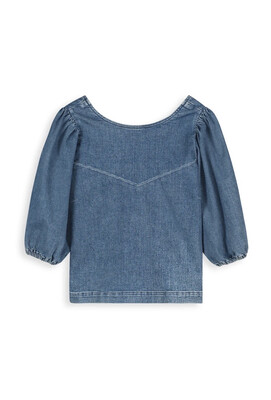 Homage Top With Balloon Sleeves- Washed Blue