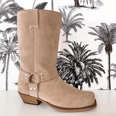 Dwrs Dallas Cowboy Boots Suede - Elefant/Castoro