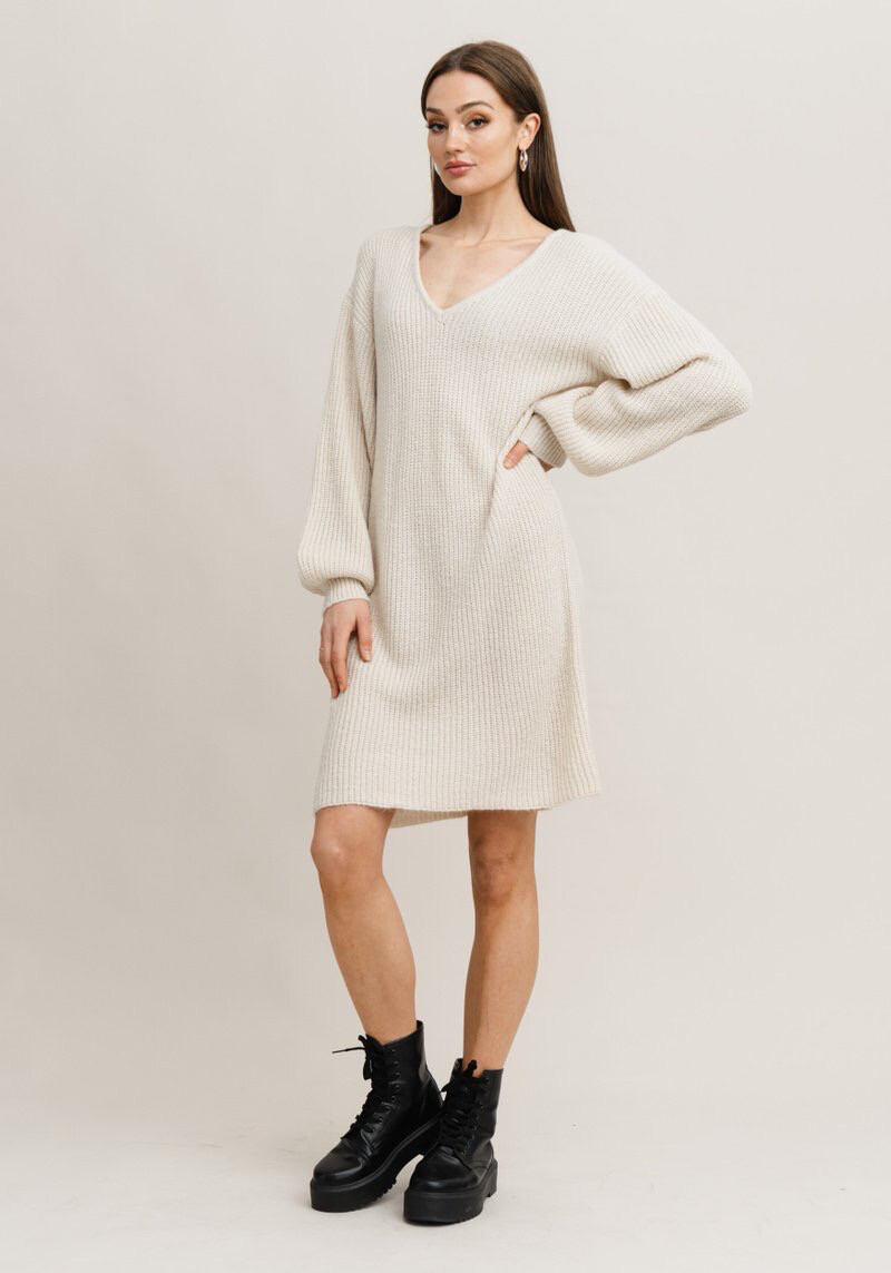Rut & Circle Miranda Knit Dress - Beige