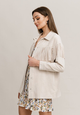 Rut & Circle Stefanie Fringe Jacket - Beige