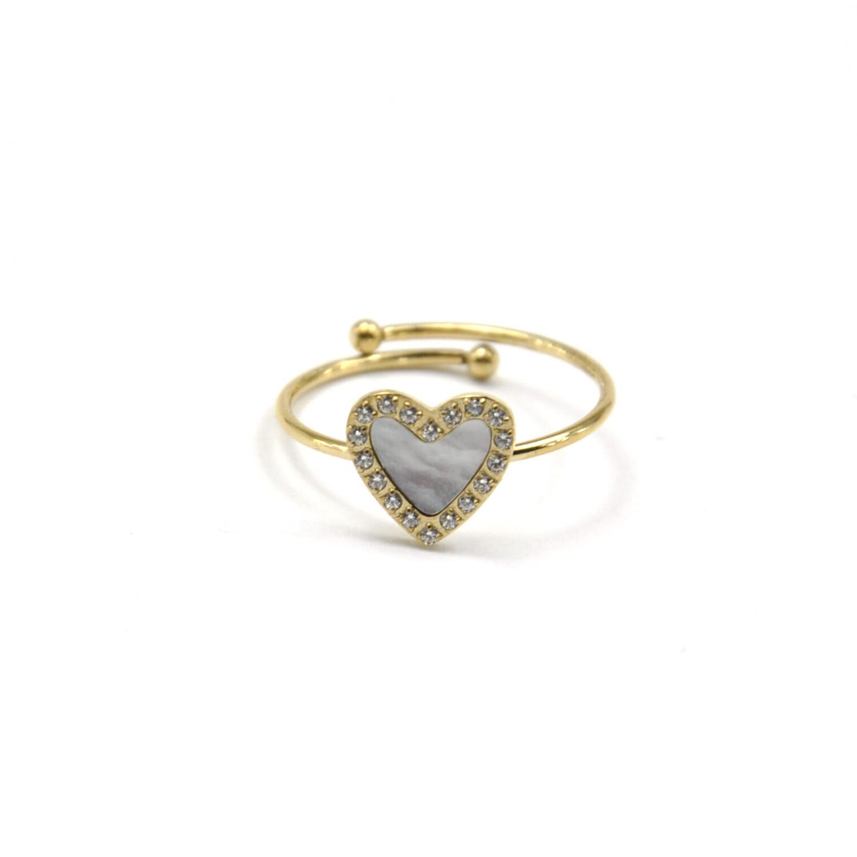 Zag Bijoux Ring Forever in my Heart Parelmoer   Goud