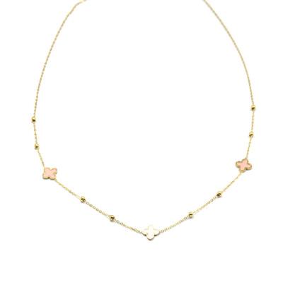 Zag Bijoux Chain Klavertjes Pastel Pink | Goud