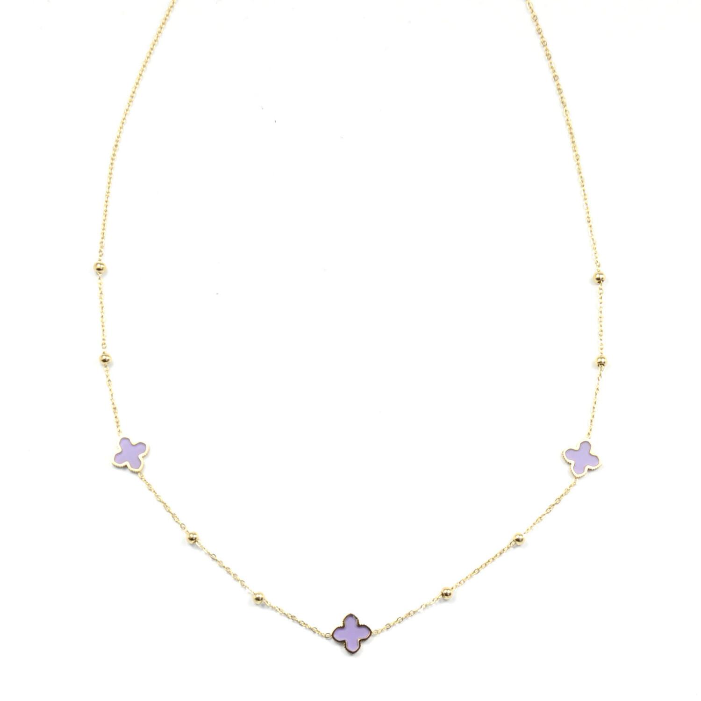 Zag Bijoux Chain Klavertjes Lilac | Goud