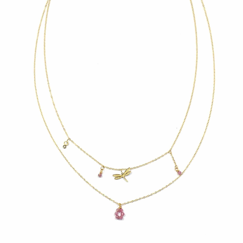 Zag Bijoux Chain Dubbele Libelle Ruby Fuchsia  | Goud