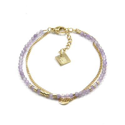 Zag Bijoux Bracelet Dubbele Lilac Amethyst | Goud
