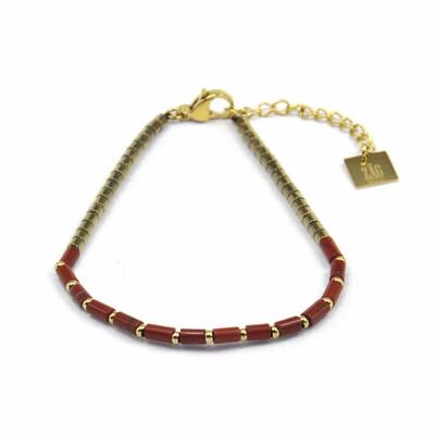 Zag Bijoux Bracelet Burgundy Gold Mix | Goud
