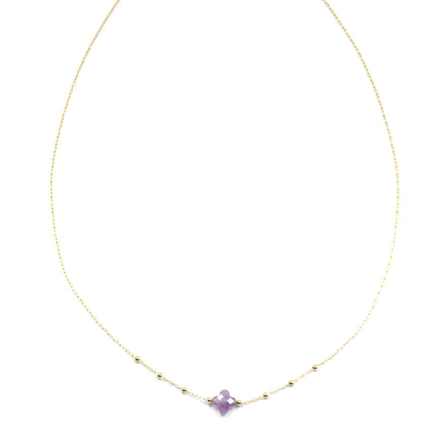 Zag Bijoux Chain Klavertjevier Purple Amethyst | Goud