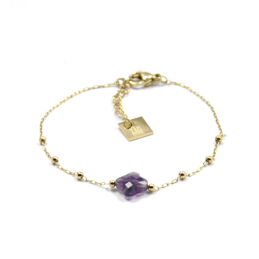 Zag Bijoux Bracelet Klavertjevier Purple Amethyst | Goud