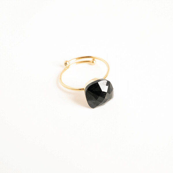 Zag Bijoux Ring Black Stone   Gold