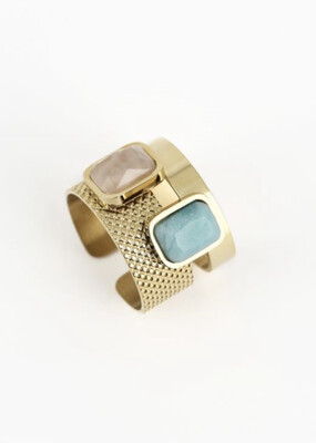 Zag Bijoux Ring Dubbel Stone  | Gold - Pink