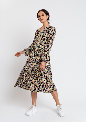 Rut & Circle Zandra Dress | Black Flower