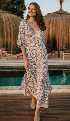 Hippy Chick Ibiza Dress Pearl Long - Grey