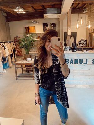 Hippy Chick Ibiza Kimono Marigold - Batik Black/White