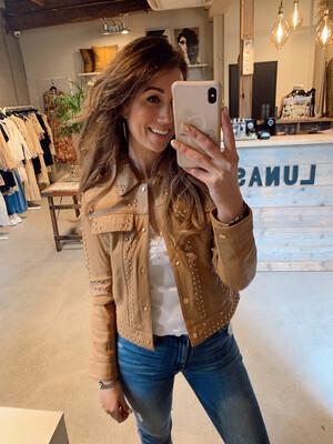 Ibana Juda Leather Jacket - Toasted Tan - Gold