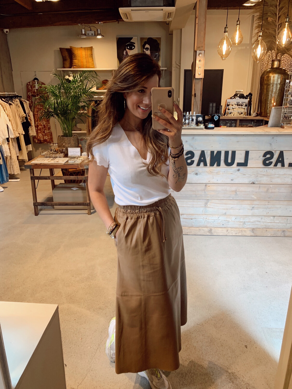 Ibana Savas Leather Skirt - Toasted Tan