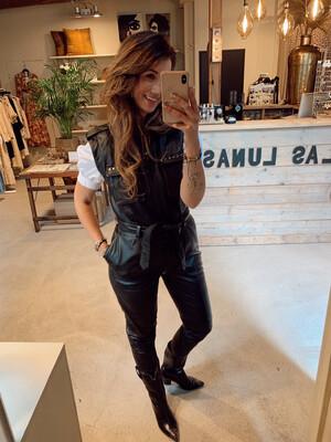 Ibana Owen Leather Jumpsuit - Black