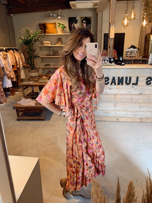 Bindi Dress Birds - Coral/Pink