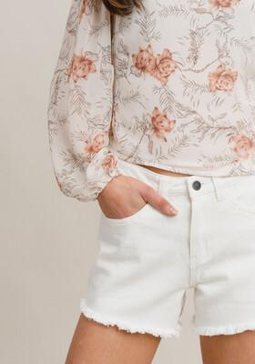 Rut & Circle Samira Denim Shorts - Off White