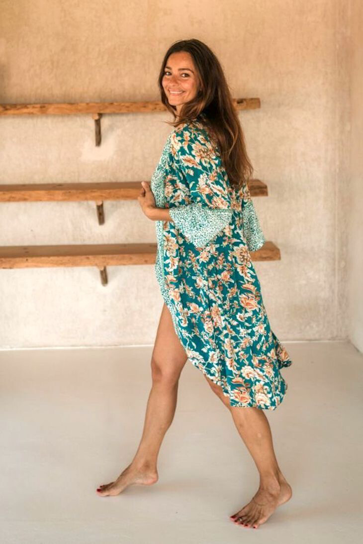 Hippy Chick Ibiza Marigold Kimono - Petrol