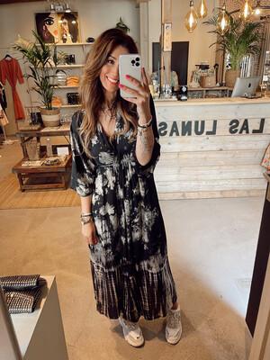 Hippy Chick Ibiza Chenoa Dress/Kimono - Batik Black/White