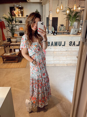 Hippy Chick Ibiza Dress Kaila - Flowers/White