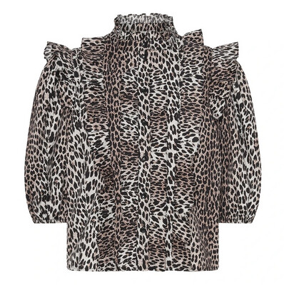 Notes Du Nord Top Vicky Ruffle - Leopard