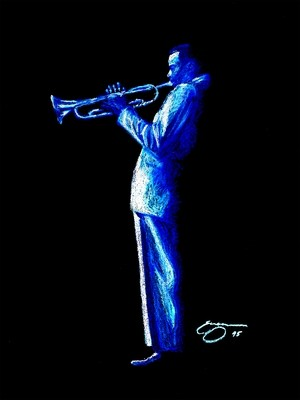A SOLO IN BLUE  Art Print