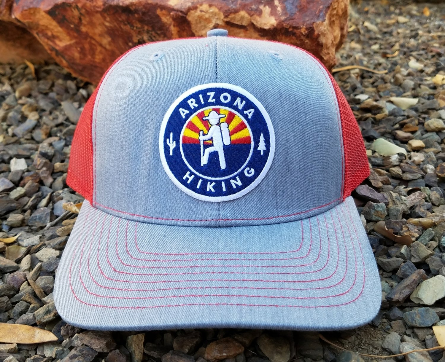 Heather Grey / Red Richardson Trucker