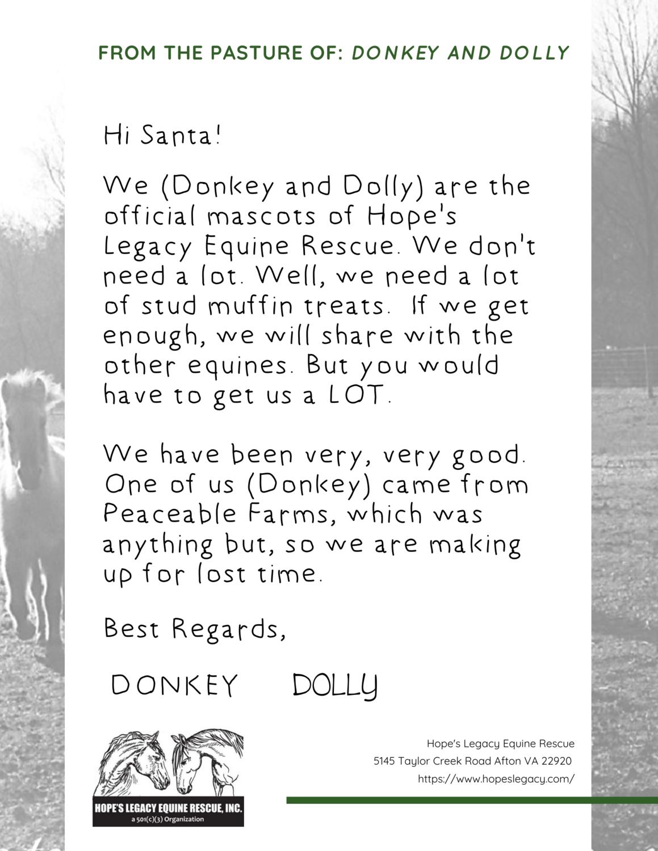 TREATS for DONKEY and DOLLY
