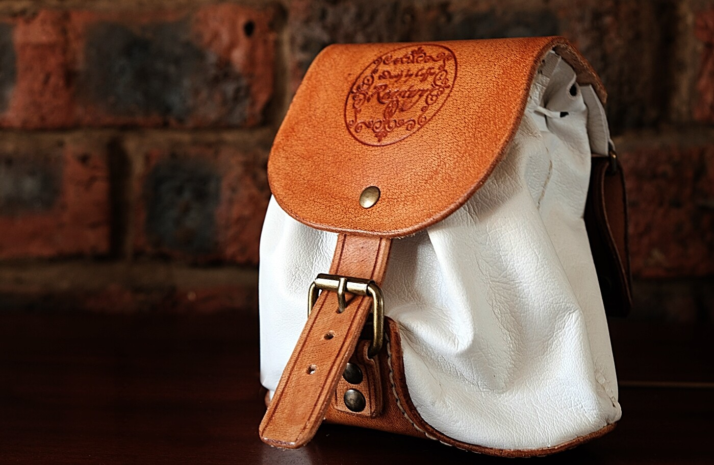 White & Brown leather bag pouch