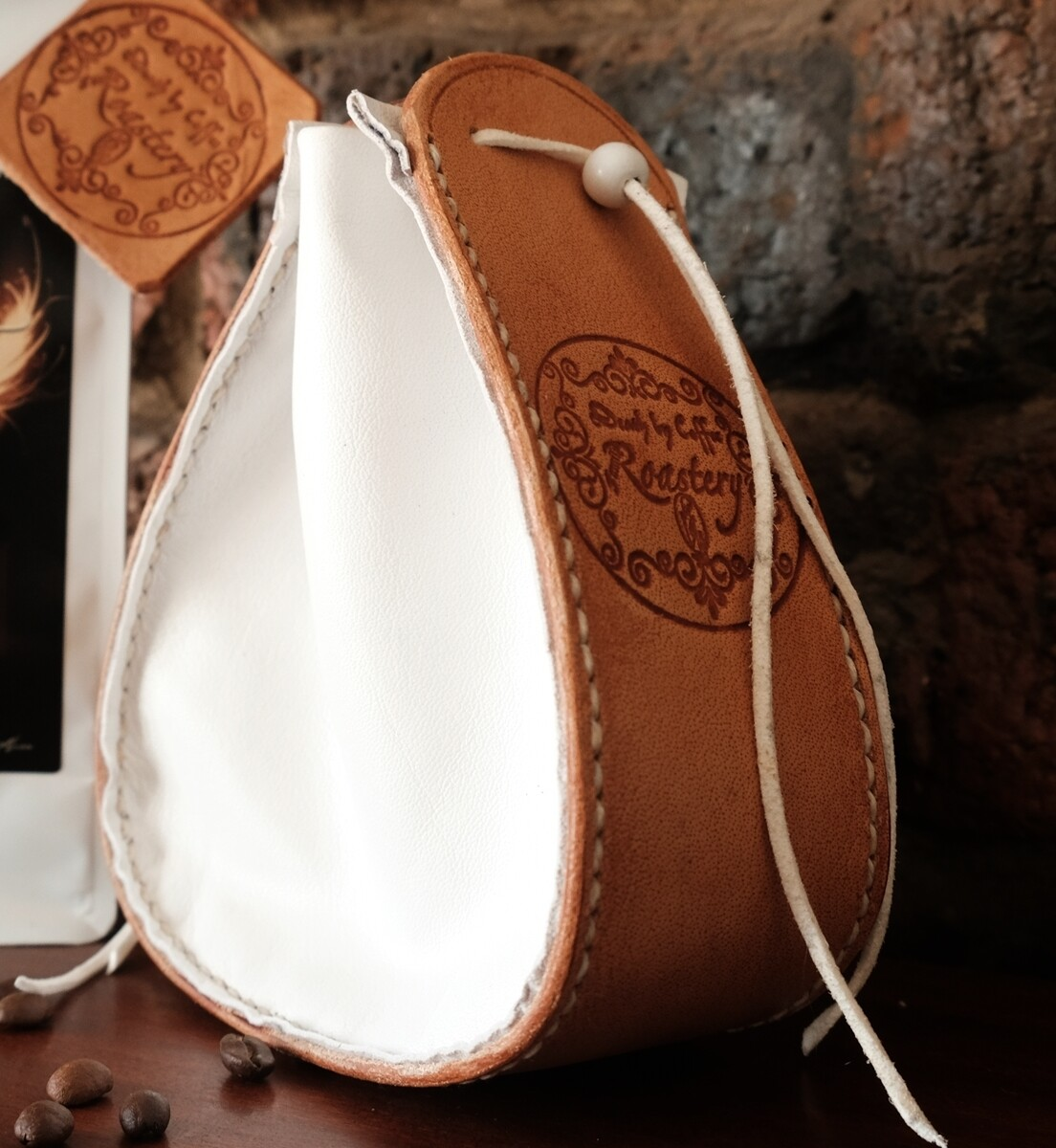 Drawstring Pouch/bag pure leather