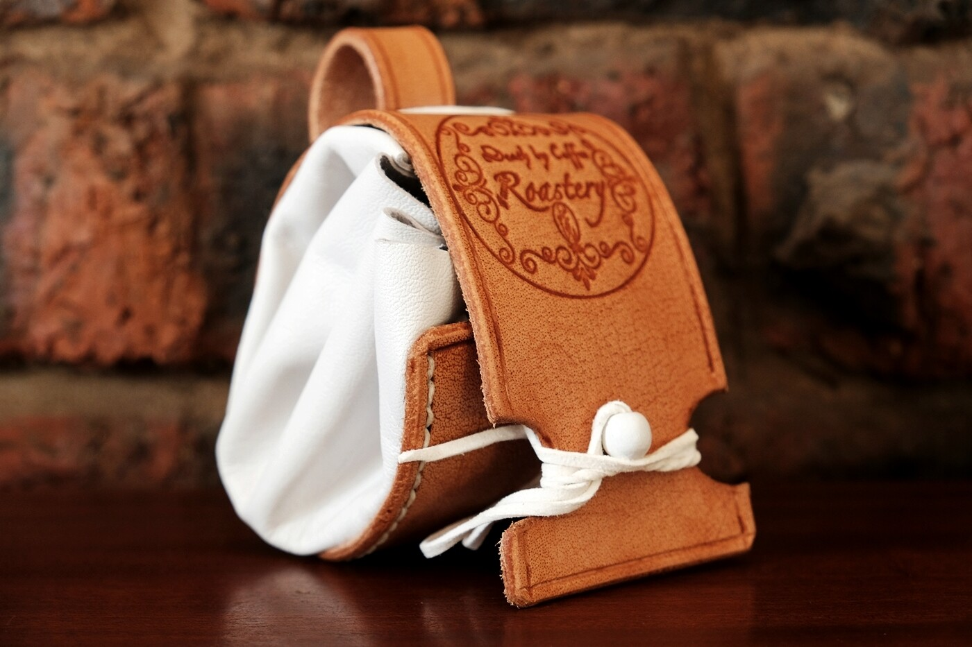 Belt pouch - white- pure leather
