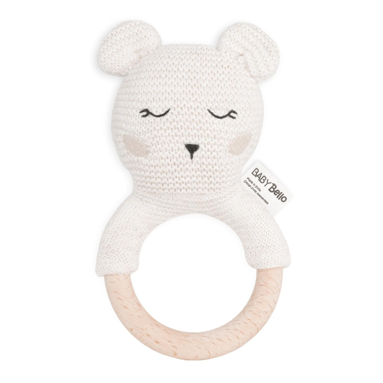 Baby Bello Bobby Polar Bär Beißring mit Rassel