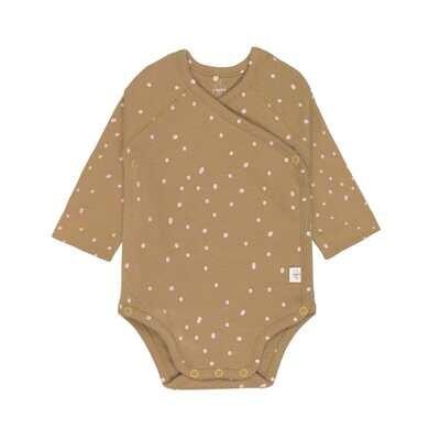 Lässig Baby Wickelbody - Langarm, Dots curry Größe wählbar (3- 24 Monate)